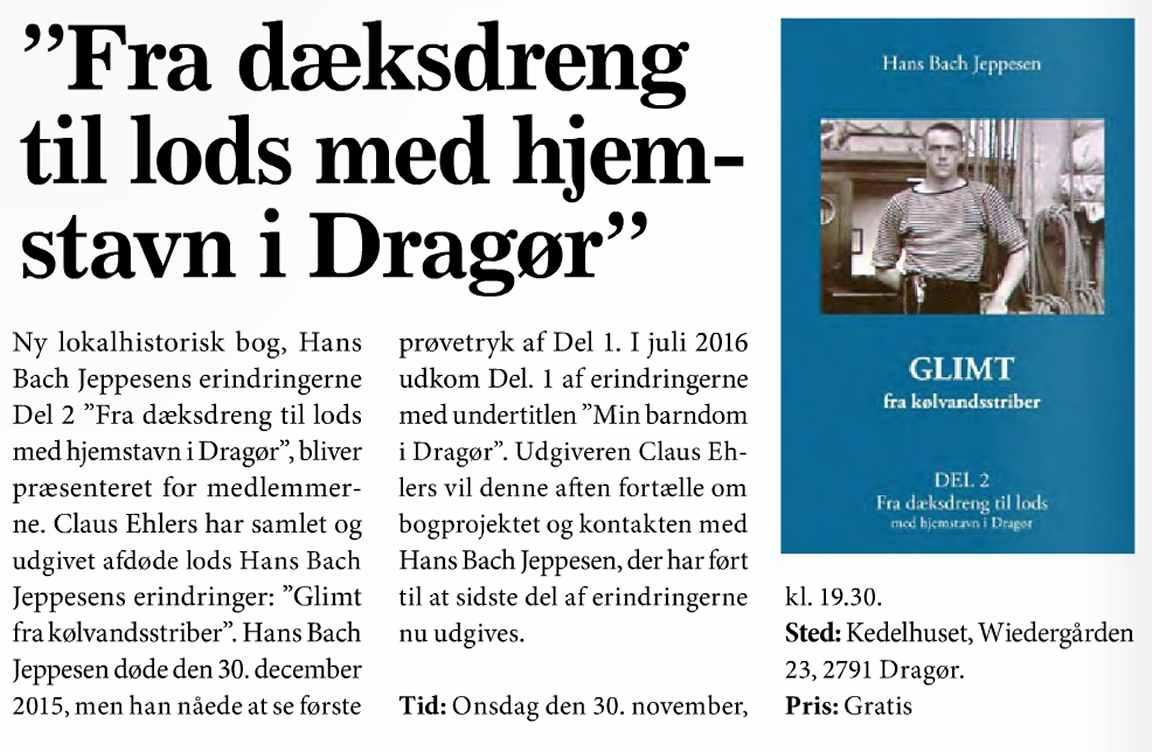 Claus Ehlers - ny bog - Lods Hans Bach Jeppesens erindringer - Bind 2